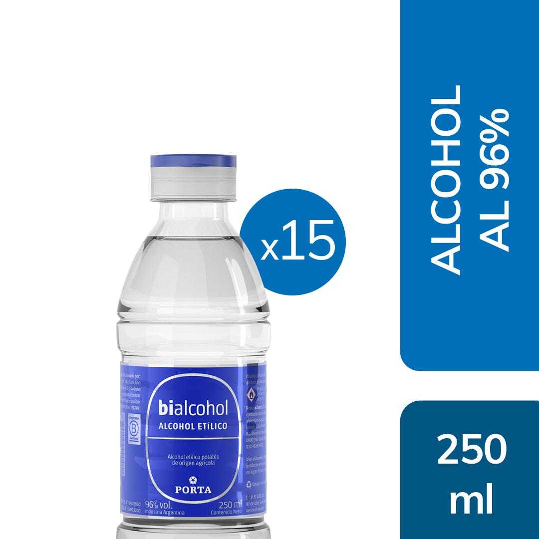 15 un. Alcohol al 96% 250mls