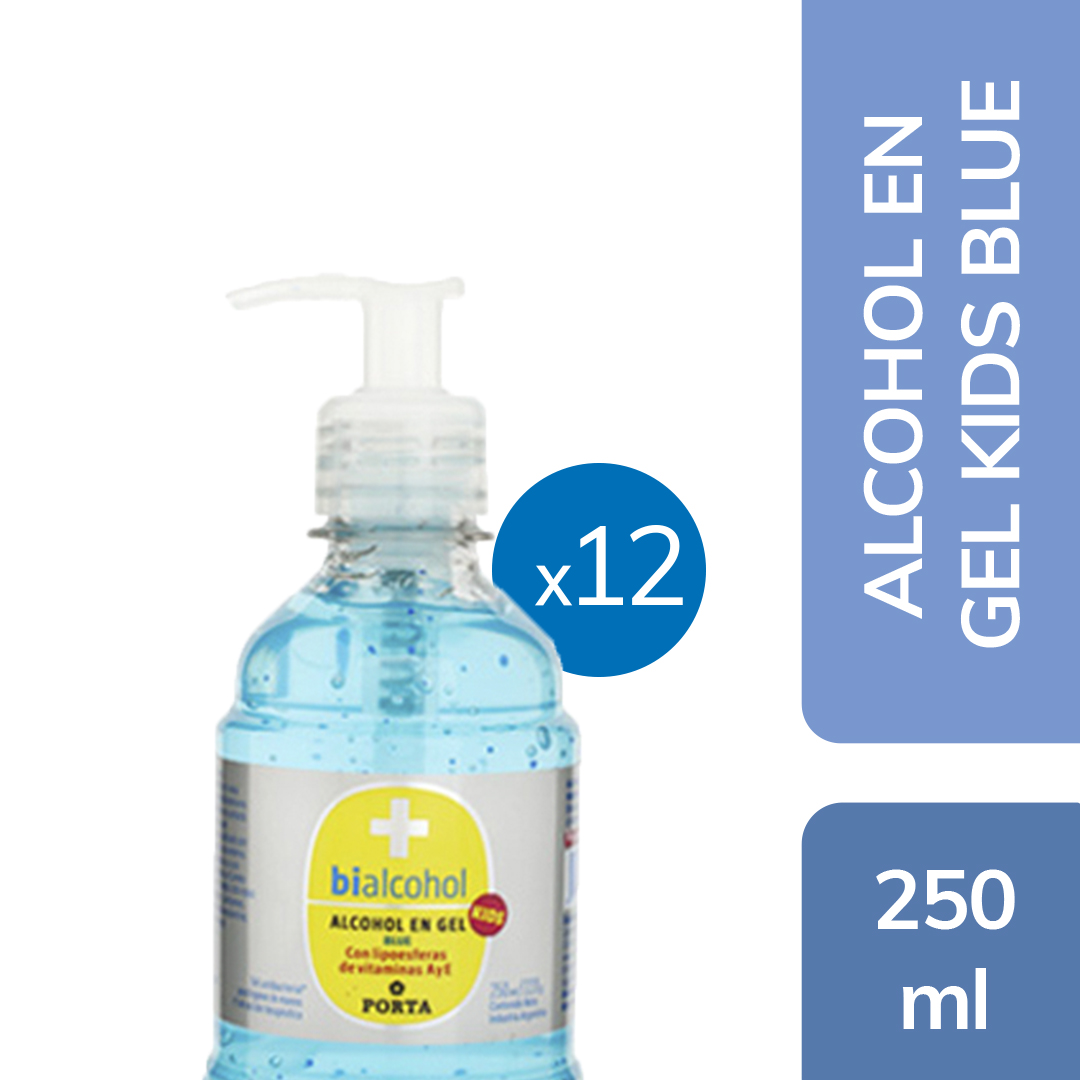 12 un. Alcohol en gel Kids Blue 250mls