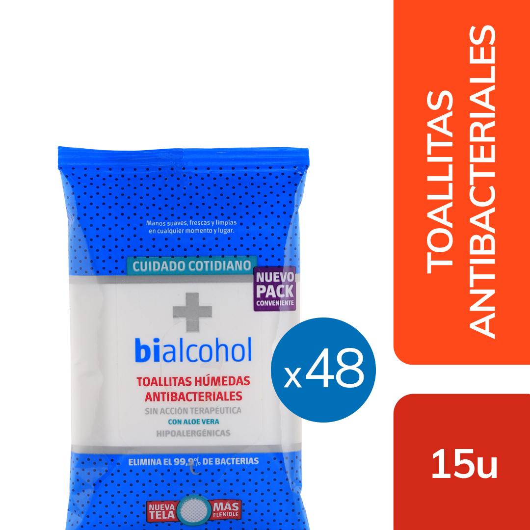 48 un. Toallitas Antibacteriales x15uns