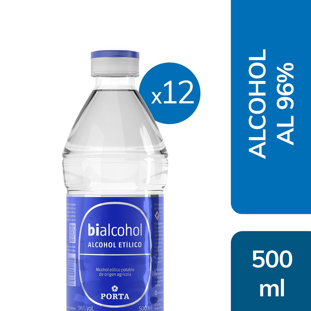 12 unid. Alcohol al 96% 500mls