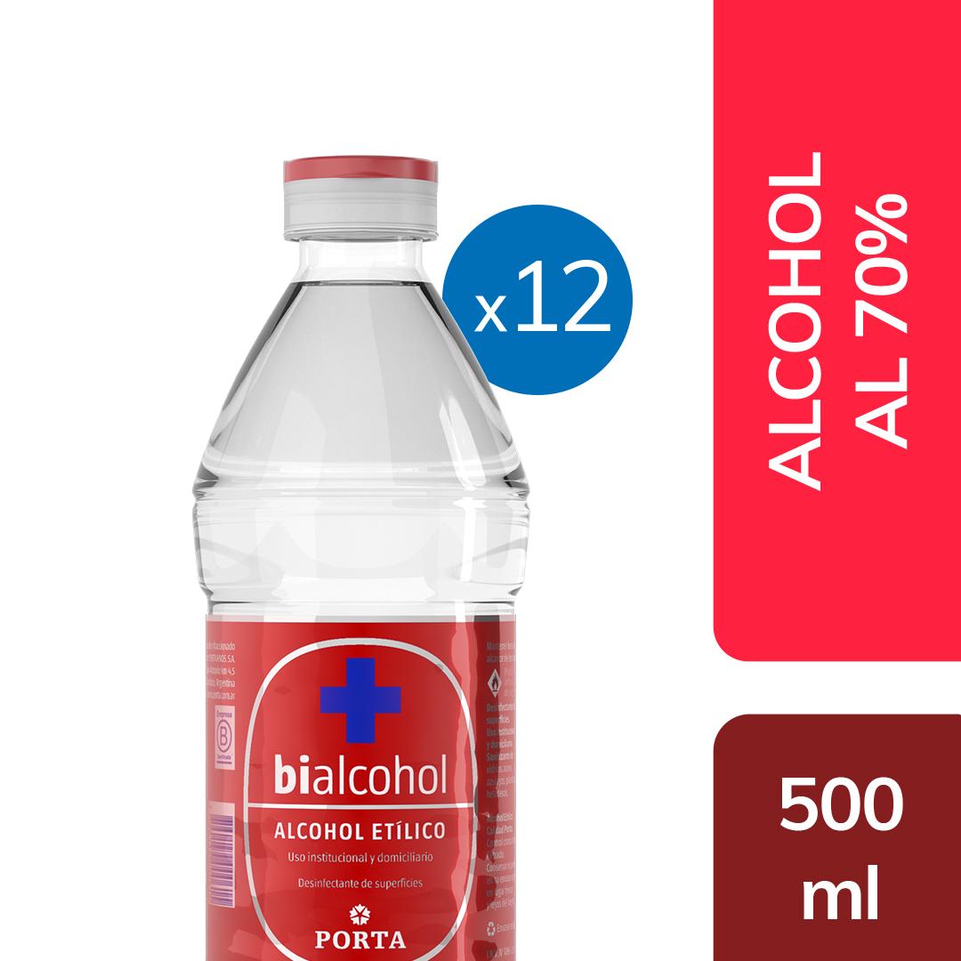 12 un. alcohol al 70% 500mls