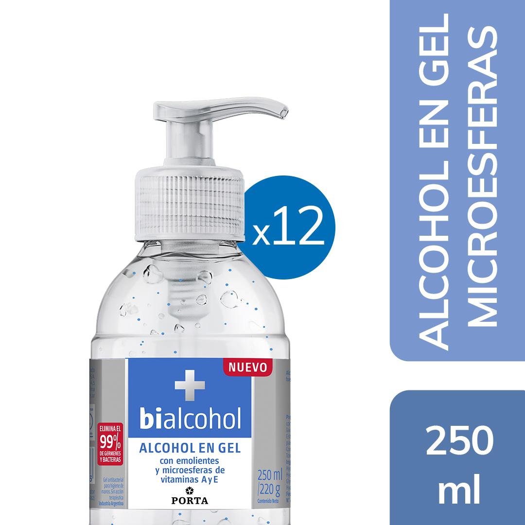 12 un. Alcohol en gel con emolientes y microesferas de vitaminas A y Es