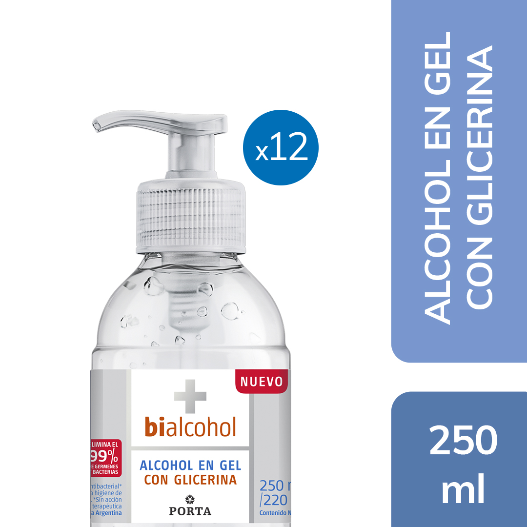 12 un. Alcohol en Gel con Glicerina 250mls