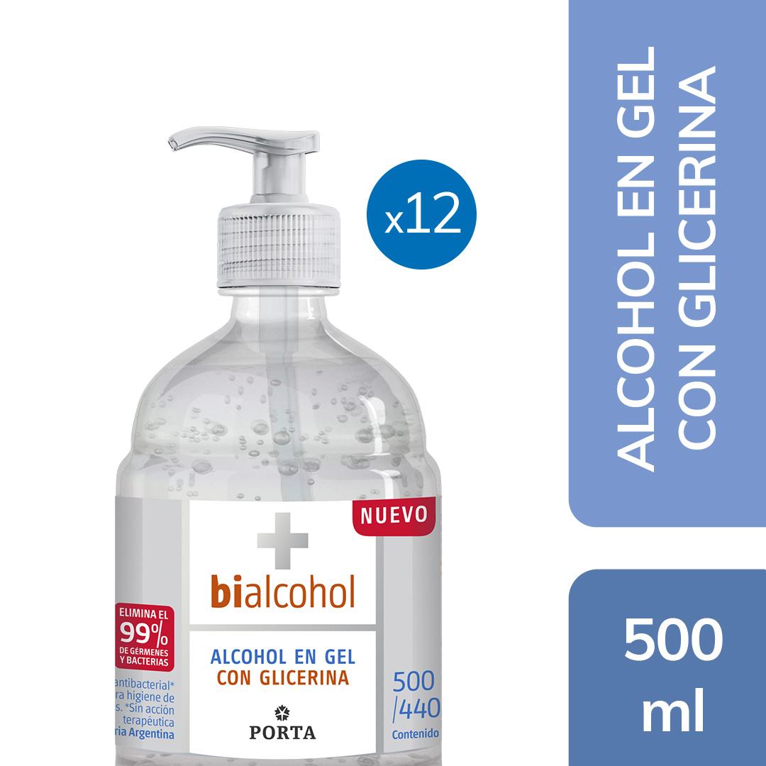 12 un. Alcohol en Gel Glicerina 500mls