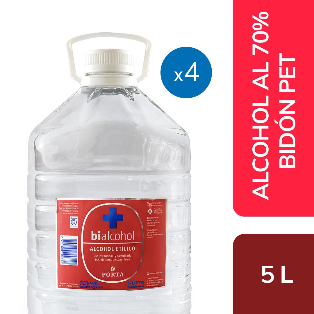 4 un. Alcohol al 70% Bidón 5Ls