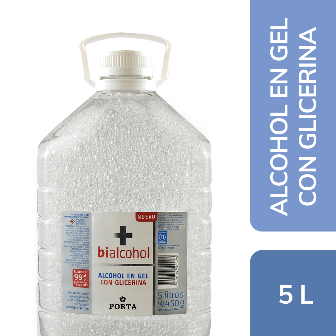 Alcohol en gel Neutro con Glicerina Bialcohol 5Ls