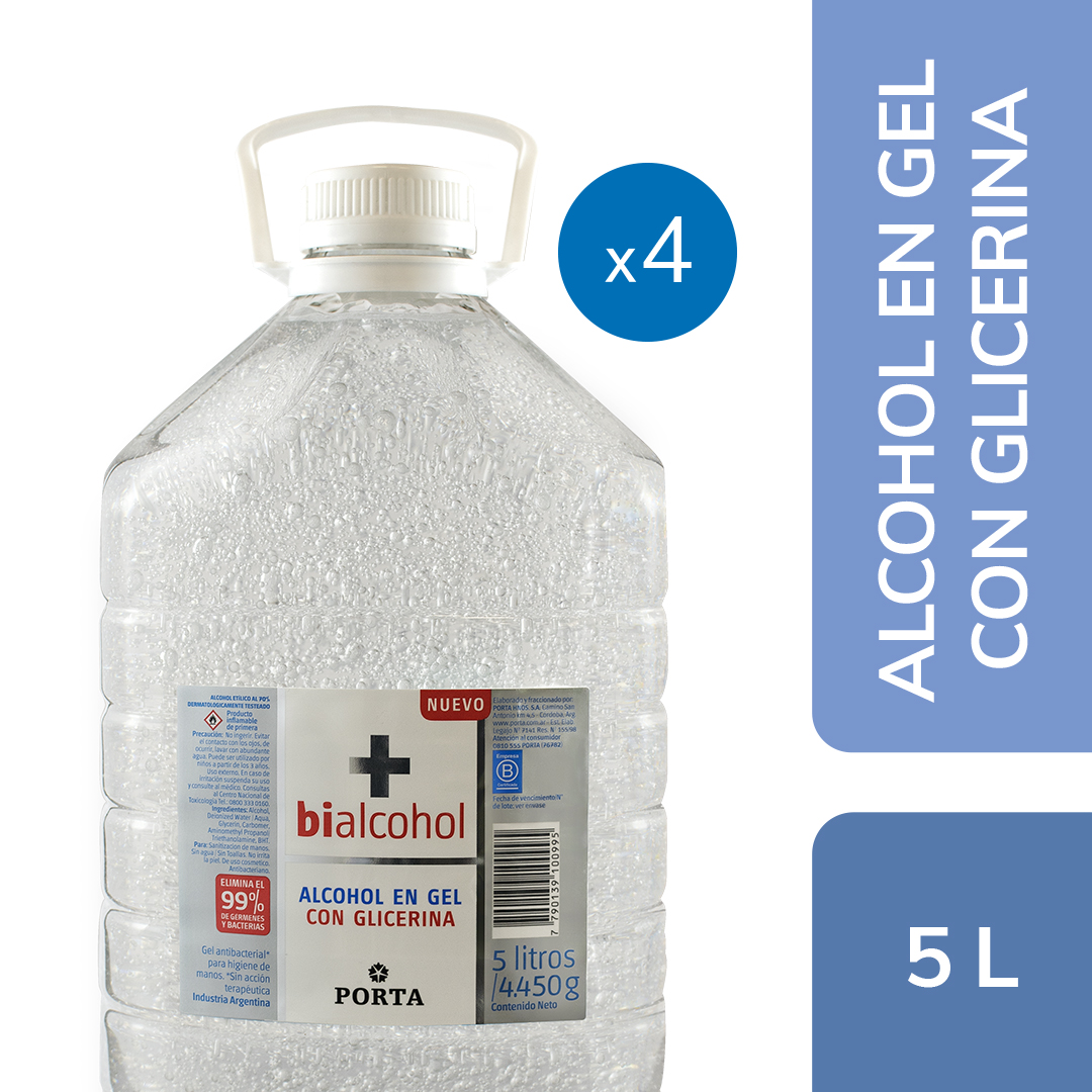 4 un. Alcohol en gel Neutro con Glicerina Bialcohol 5Ls
