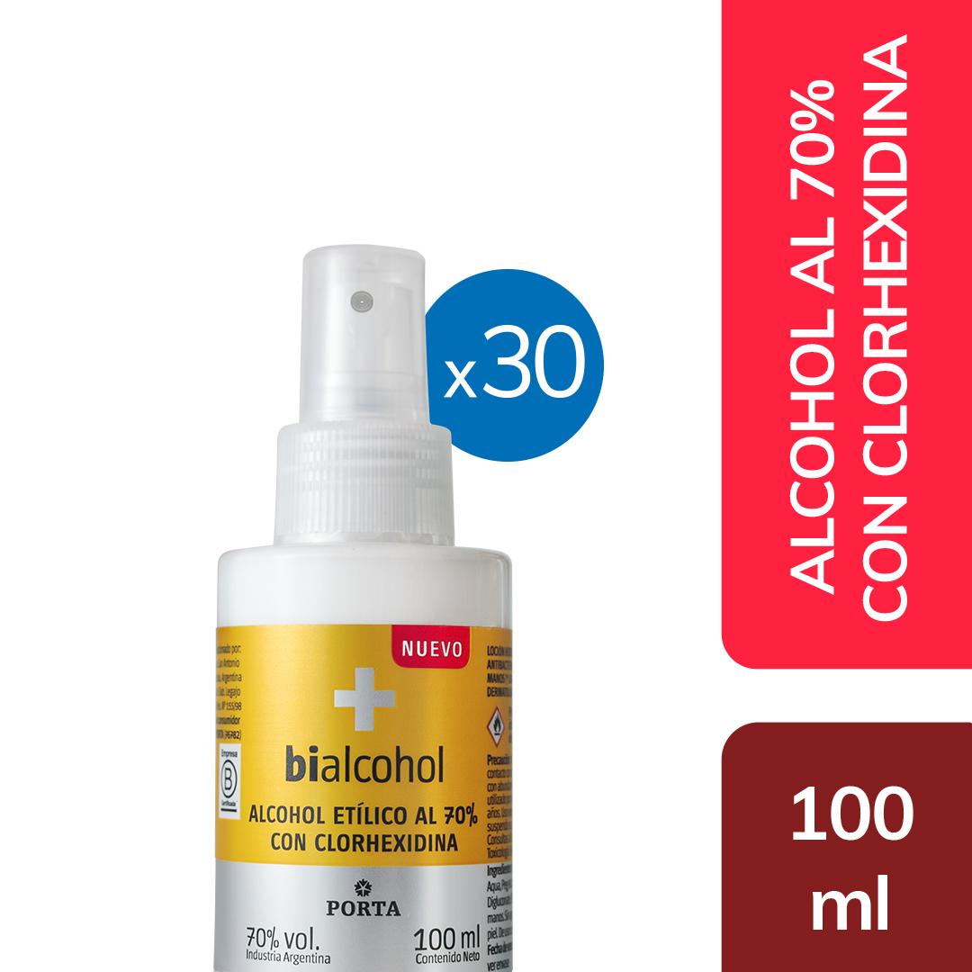 30 unid Alcohol al 70% con clorhexidinas