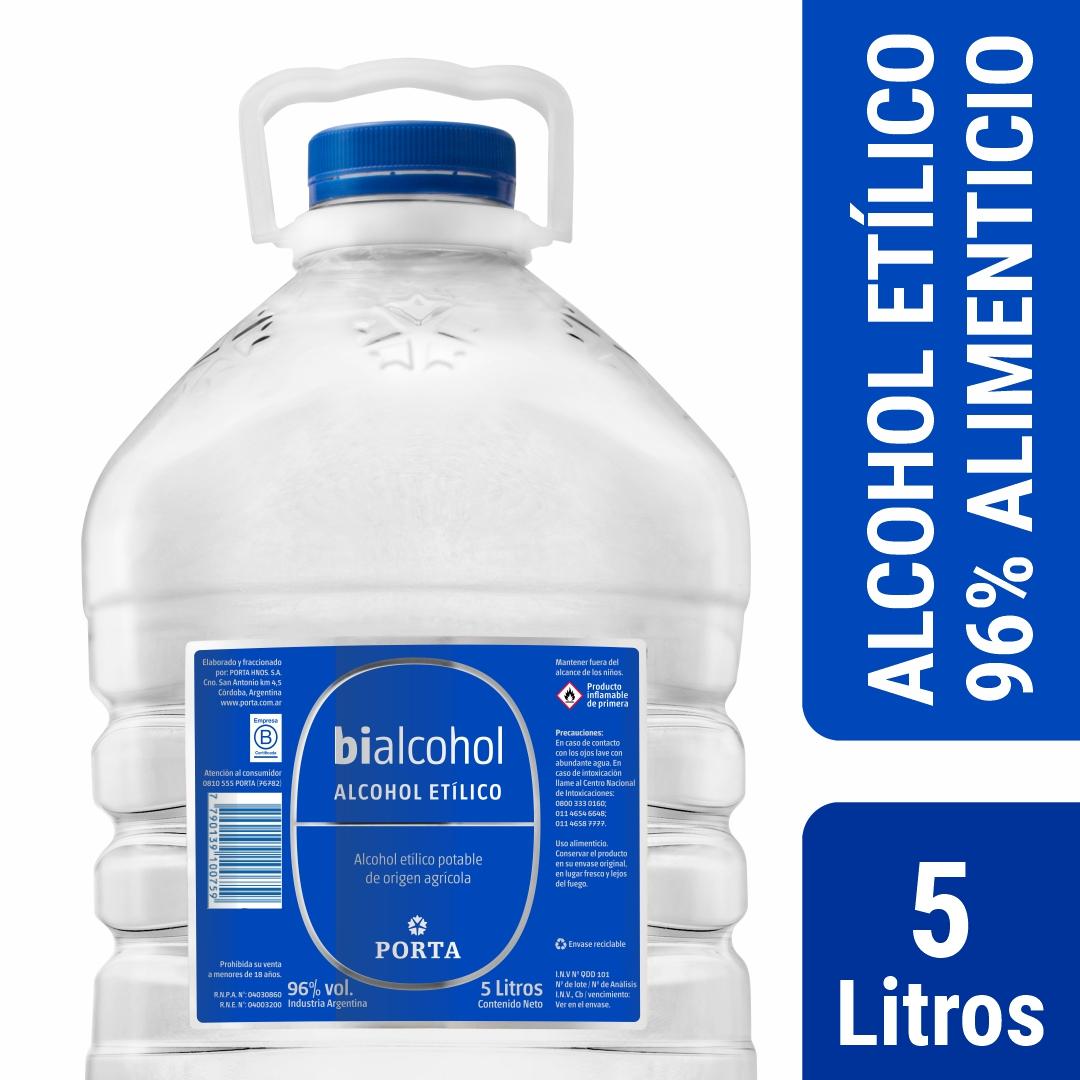 4 unid. Alcohol al 96% Alimenticio  Bidon 5 litros